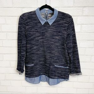 Ann Taylor Cotton Layered Button Down Sweater V6